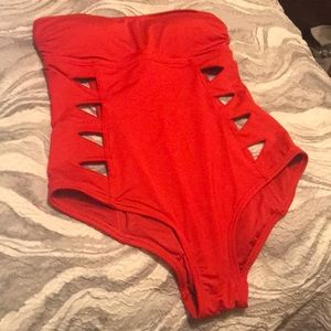 Red One-Piece Strapless Bathing Suit w/Cut Out